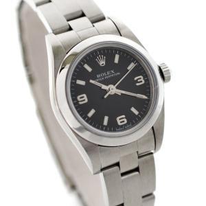美品 ロレックス オイスターパーペチュアル レディース 腕時計 自動巻き SS シルバー/ブラック文字盤 3・6・9アラビア ref.76080 中古 ROLEX goldeco