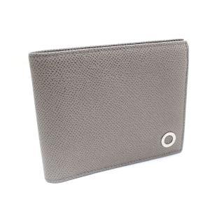 ブルガリ ロゴ 二つ折り財布 レディース レザー グレー 中古 送料無料 BVLGARI goldeco