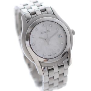 グッチ 11Pダイヤ 腕時計 レディース クオーツ ホワイトシェル文字盤 シルバー 5500L/YA055501     中古 送料無料 GUCCI|goldeco