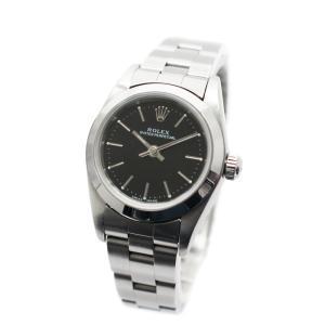 ロレックス オイスター パーペチュアル 腕時計 レディース 自動巻き ブラック文字盤 シルバー 76080 Y番 中古 送料無料 ROLEX|goldeco