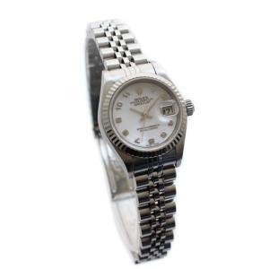 ROLEX ロレックス デイトジャスト レディース腕時計 オートマ 自動巻き 79174NA K番 ステンレス K18ホワイトゴールド ピンクシェルダイアル シルバー 中古|goldeco