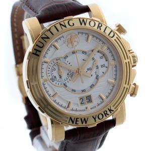 ハンティングワールド イリス クロノグラフ メンズ 腕時計 クォーツ GP レザー ゴールド ブラウン ウォッチ HW-913 中古 HUNTING WORLD 送料無料|goldeco
