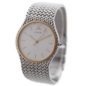 セイコー クレドール コンビ 腕時計 メンズ クオーツ シルバー ゴールド 7771-5050 中古 送料無料 SEIKO goldeco