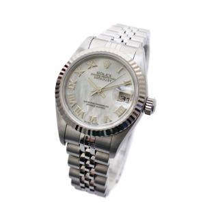 ロレックス デイトジャスト コンビ 腕時計 レディース 自動巻き シェル文字盤 シルバー 79174NR P番 中古 送料無料 ROLEX|goldeco