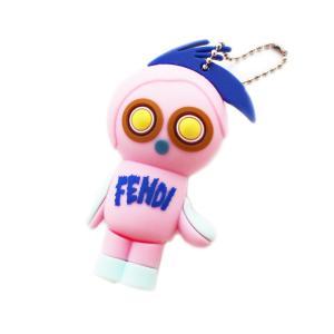 美品 フェンディ フェンディルミ USB メモリ4GB 付き キーホルダー PC周辺機器 ユニセックス シリコン ピンク 中古 送料無料 FENDI|goldeco