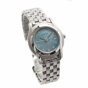 グッチ Gクラス 腕時計 レディース クオーツ ブルーシェル文字盤 シルバー 5500L 中古 送料無料 GUCCI|goldeco