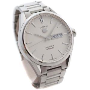タグホイヤー カレラキャリバー5 デイデイト 腕時計 メンズ 自動巻き ホワイト文字盤 シルバー WAR201B.BA0723 中古 送料無料 TAG HEUER|goldeco