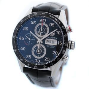 タグホイヤー カレラ タキメーター クロノグラフ デイデイト 腕時計 メンズ 自動巻き ネイビー文字盤 シルバー ブラック CV2A10 中古 送料無料 TAG HEUER|goldeco