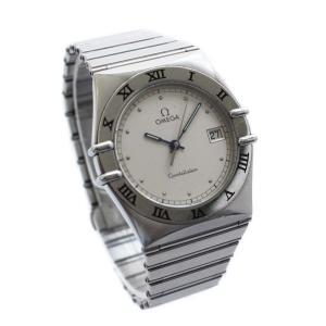 オメガ コンステレーション デイト 腕時計 メンズ クオーツ アイボリー文字盤 シルバー 中古 送料無料 OMEGA|goldeco