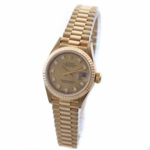 ロレックス デイトジャスト 10Pダイヤ 腕時計 レディース 自動巻き シャンパン文字盤 ゴールド 69178G X番 中古 送料無料 ROLEX|goldeco