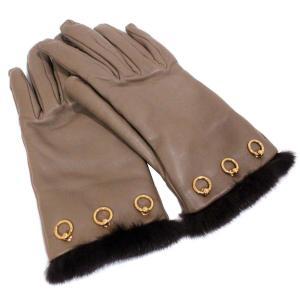エルメス リング金具 グローブ #7 手袋 レディース ラムスキン ミンク ブラウン 中古 送料無料 HERMES|goldeco