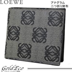 ロエベ アナグラム 二つ折り札入れ グレー ブラック 二つ折り財布 メンズ PVC レザー 中古 LOEWE