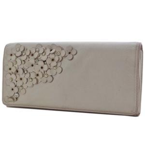 アンテプリマ フラワー 二つ折り 長財布 レディース レザー メタリックカラー ピンク 中古  ANTEPRIMA|goldeco