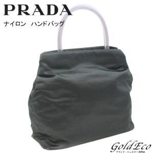 プラダ テスート ナイロン ハンドバッグ ブラック 黒 ロゴ プレート 中古 PRADA|goldeco