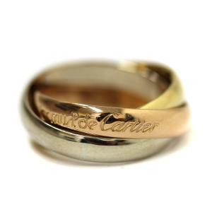 Cartier カルティエ トリニティリング レディース 3連リング 指輪 750 スリーゴールド #50 約7号 ジュエリー 新品仕上げ済み 中古|goldeco