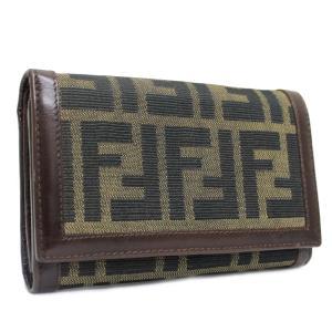 フェンディ ズッカ 二つ折り財布 レディース キャンバス レザー ブラウン カーキ 中古  FENDI|goldeco