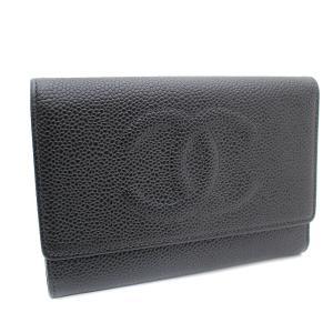 シャネル キャビアスキン ココマーク 三つ折り財布 レディース レザー ブラック A13225 中古 送料無料 CHANEL goldeco