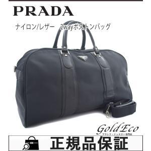 PRADA プラダ メンズ レディース 2wayボストンバッグ ショルダーバッグ 旅行バッグ ナイロン/レザー ブラック 中古|goldeco