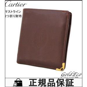 Cartier カルティエ マストライン 二つ折り財布 メンズ レディース ボルドー レザー 中古|goldeco