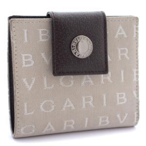 ブルガリ ロゴマニア コンパクト 二つ折り財布 ユニセックス キャンバス レザー ベージュ ブラウン 中古 送料無料 BVLGARI|goldeco