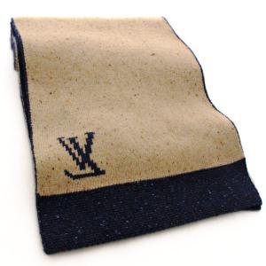 ルイ ヴィトン ロゴ モノグラム フラワー マフラー レディース アパレル ウール カシミヤ ネイビー 紺色 ベージュ 中古 小物 LOUIS VUITTON 送料無料|goldeco|05