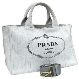 プラダ カナパ 2WAY トートバッグ レディース デニム キャンバス ライトグレー 1BG642 中古 送料無料 PRADA|goldeco
