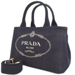 PRADA プラダ 2way ハンドバッグ ショルダーバッグ カナパ ブラック 黒 キャンバス レディース 1BG439 中古|goldeco