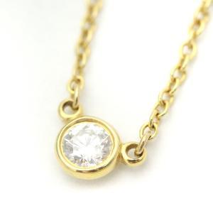 送料無料 新品仕上げ済み Tiffany&Co ティファニー バイザヤード ダイヤモンド ネックレス レディース K18YG 750イエローゴールド 1PD ジュエリー 中古 goldeco