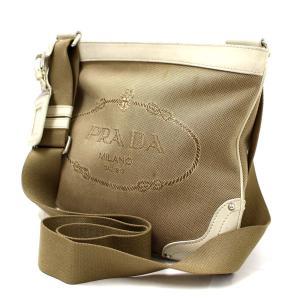 プラダ ジャガード ショルダーバッグ ユニセックス キャンバス レザー ベージュ ホワイト BT0537 中古  PRADA|goldeco