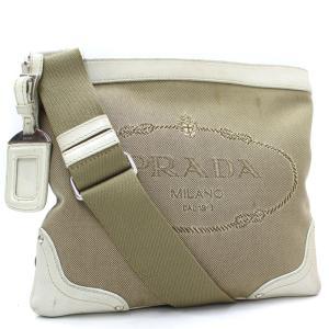 プラダ ジャガード ショルダーバッグ レディース キャンバス レザー ベージュ ホワイト BT0537 中古 送料無料 PRADA|goldeco