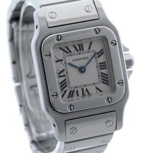 送料無料 Cartier カルティエ サントスガルベSM レディース 腕時計 クォーツ シルバー ステンレス ウォッチ 1565 中古|goldeco