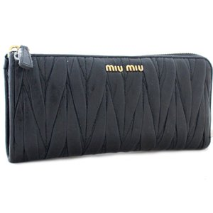 miumiu ミュウミュウ マテラッセ L字ファスナー長財布 レディース 財布 ブラック 黒色 ラムレザー 5ML183 中古|goldeco