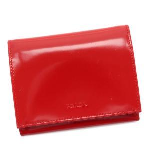 プラダ 三つ折り財布 レディース パテントレザー ROSSO M176 中古 送料無料 PRADA|goldeco