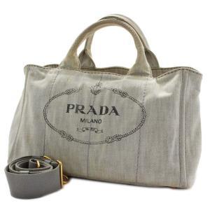 プラダ カナパ 2WAY トートバッグ レディース デニム ホワイト B2642B 中古 送料無料 PRADA|goldeco