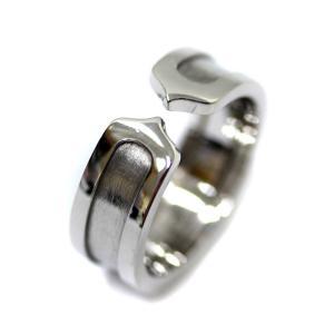 新品仕上げ済み カルティエ C2リング リング・指輪 レディース K18ホワイトゴールド ジュエリー 9号 シルバー 中古 送料無料 CARTIER|goldeco