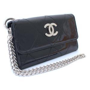 シャネル ココマーク チェーン付き 二つ折り財布 レディース パテントレザー ブラック 中古 送料無料 CHANEL|goldeco