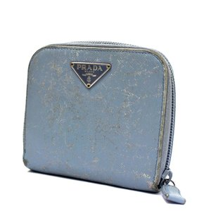プラダ コンパクトジップ 二つ折り財布 ユニセックス 型押しレザー ブルー 中古  PRADA|goldeco