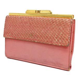061b8cf40221 Christian Dior クリスチャンディオール がま口 レディース 三つ折り財布 ピンク レザ.