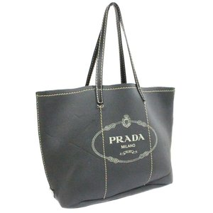 プラダ ネオプレーン ロゴプリント トートバッグ ユニセックス レザー グレー 中古 送料無料 PRADA|goldeco