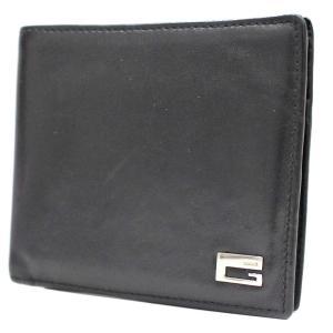 グッチ シルバー ロゴ金具 二つ折り財布 メンズ レザー ブラック 0959・0837 中古  GUCCI|goldeco