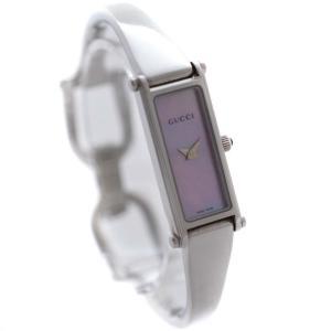 グッチ バングルウォッチ 腕時計 レディース クオーツ ピンクシェル文字盤 シルバー  1500L 中古 送料無料 GUCCI|goldeco