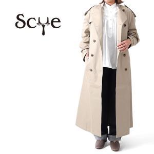 [TIME SALE] Scye サイ コットンシルク オーバーサイズ ノーカラー トレンチコート 1220-71024 レディース|Golden State