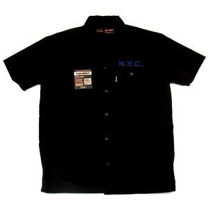 SCHOTT ショット WORK SHIRT CROSS ワークシャツ クロス 半袖 刺繍 アメリカ 国旗 ブラック メンズ レディース 3175002|goldentijuana