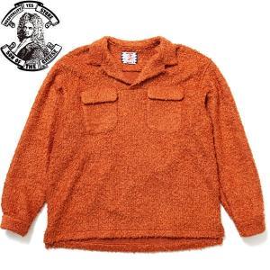 SON OF THE CHEESE サノバチーズ SC1920-SH03_45 BOA FLAP Shirt ボア フラップ シャツ 長袖 開襟 プルオーバー メンズ レディース オレンジ 送料無料 goldentijuana