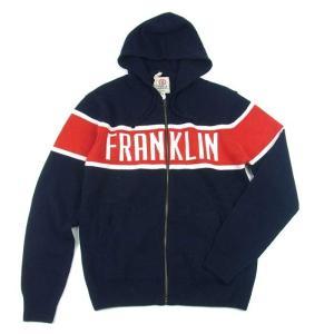 FRANKLIN & MARSHALL フランクリン アンド マーシャル KNIT ZIP HOODOE ニット ジップ フーディ アップ フード パーカー ネイビー メンズ|goldentijuana