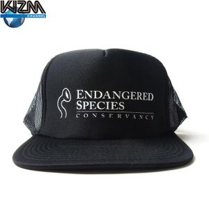 KIZM キズム E.S.C. PRINT MESH CAP ヘラ メッシュ キャップ 絶滅危惧種 保護の会 プリント スナップバック フラットバイザー 帽子 ヘラ ブラック 限定|goldentijuana