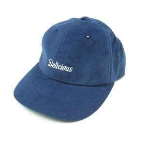 DELICIOUS デリシャス CORE LOGO CORDUROY CAP コアロゴ コーデュロイ キャップ メンズ レディース 帽子 ネイビー|goldentijuana