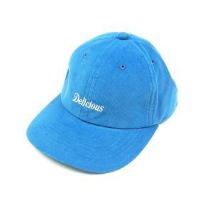 DELICIOUS デリシャス CORE LOGO CORDUROY CAP コアロゴ コーデュロイ キャップ メンズ レディース 帽子 ブルー|goldentijuana