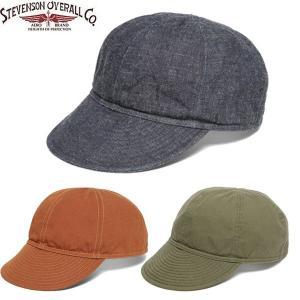 STEVENSON OVERALL スティーブンソン オーバーオール Mechanic Cap メカニック キャップ 帽子 メンズ デニム キャンバス 3カラー MC|goldentijuana