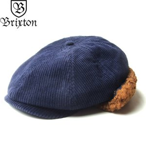 BRIXTON ブリクストン 10432 BROOD EARFLAP SNAP CAP ブラッド イヤーフラップ スナップ キャップ 帽子 メンズ レディース ユニセックス コーデュロイ ネイビー|goldentijuana